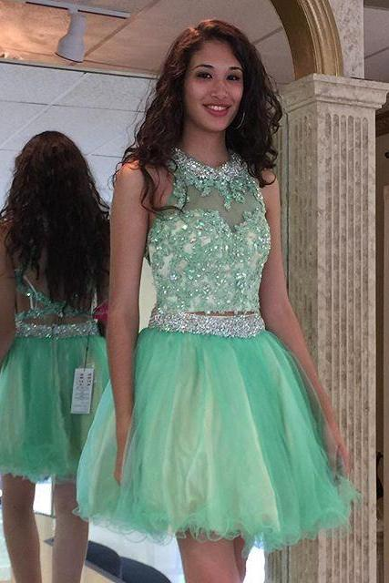 Two Pieces Beading Short Prom Dresses,Cocktail Dress,Graduation Dresses,Homecoming Dresses,XT307