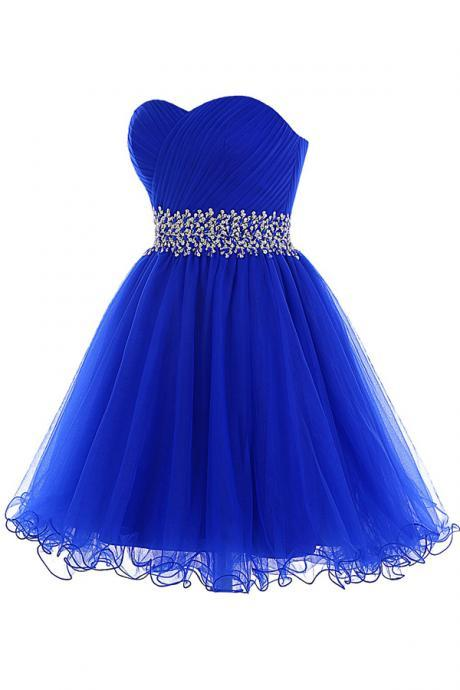 Tulle Lace-up Beaded Royal Blue Homecoming Dress,Prom Dress,Graduation Dress