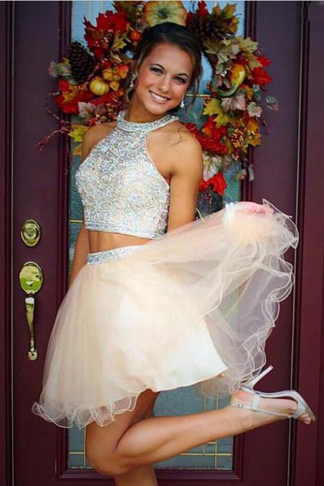 Two Piece Tulle Champagne Beaded Homecoming Dress,Prom Dress,Graduation Dress
