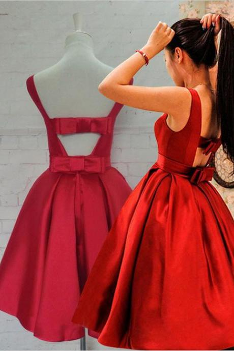 Knee Length Red Bow Back Homecoming Dress