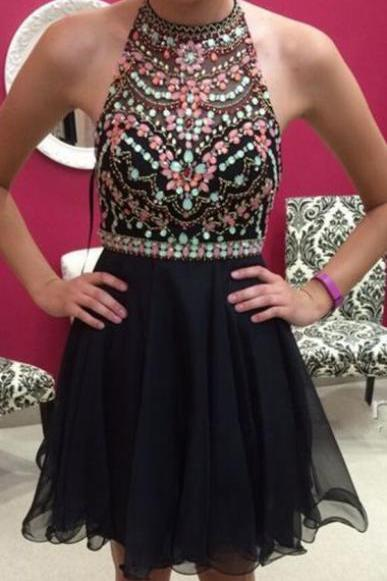 Sexy Halter Sleeveless Short Black Homecoming Dress,Prom Dress,Graduation Dress,Party Dress,Short Homecoming Dress,Short Prom Dress,Homecoming Dress 2016