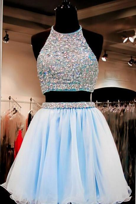 Two Pieces Baby Blue Homecoming Dress,Prom Dress,Graduation Dress,Party Dress,Short Homecoming Dress,Short Prom Dress,Homecoming Dress