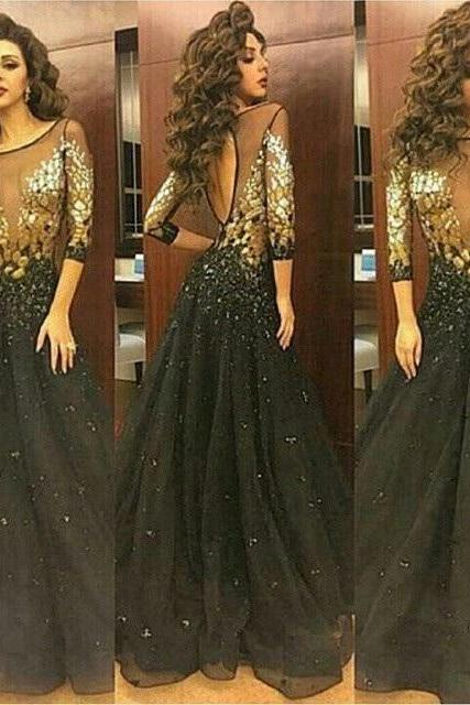 Long Prom Dresses,Black Evening Dresses,Beaded Crystals Party Dresses,Long Proml Gowns,Evening Dresses for Woman