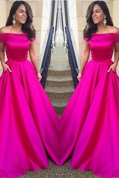 Off the Shoulder Fuchsia Prom Dress,Satin Prom Dress,Long Formal Evening Dresses,A Line Evening Dress,Girls Party Dress