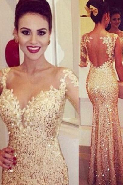 Mermaid Sweetheart Prom Dress,Trumpet Long Sleeves Gold Backless Tulle Evening/Prom Dress With Appliques,Sequined Prom Dress