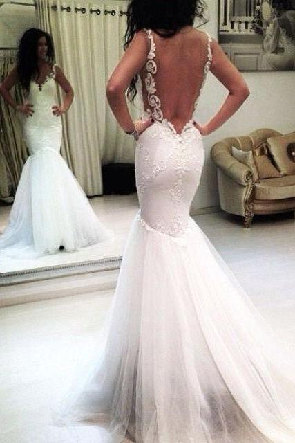 Elegant Straps Mermaid Wedding Dress,Backless Wedding Dress,Modest Sexy Wedding Dress