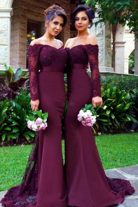 Lace Illusion Neckline Off-the-Shoulder Bridesmaid Dresses,Long Sleeves Mermaid Bridesmaid/Prom Dress,Wedding Party Dress