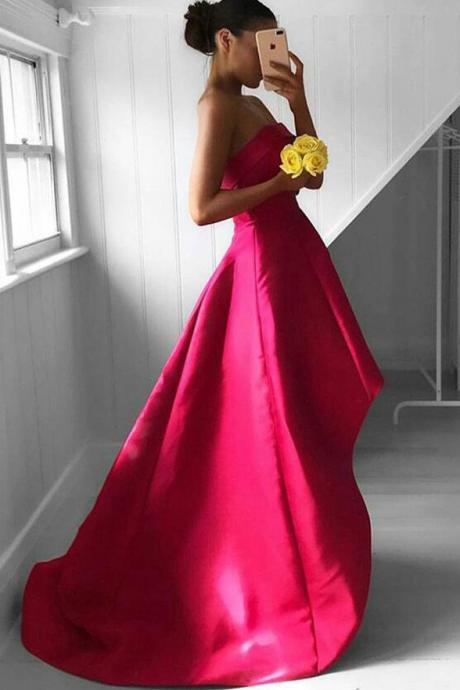 Long Strapless Prom Dresses,High Low Prom Dress,Fuchsia Pleated Prom Dress,Sleeveless Prom Gown