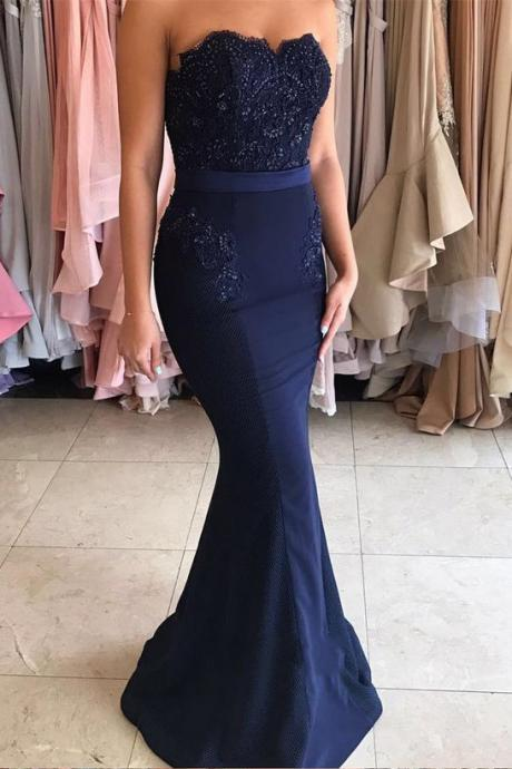 Navy Blue Long Strapless Mermaid Appliques Long Prom Dress, 2017 Woman Evening Dress