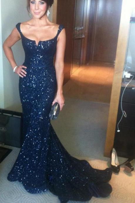 Mermaid Long Prom Dress,Dark Navy Evening Dress,Sheath Sequined Prom Dress with Sash