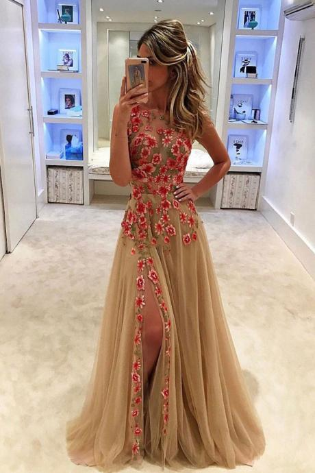 Unique Tulle Prom Dress,Applique Long Prom Dress With Side Slit,Sleeveless Prom Dress,Formal Dress,Prom Dresses 2017