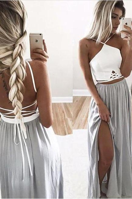 Sexy Backless Prom Dress,White/ Silver Halter Long Party Dress,Side Slit Backless Formal Gown,Maxi Dress With Spaghetti Straps,Long Prom Dresses