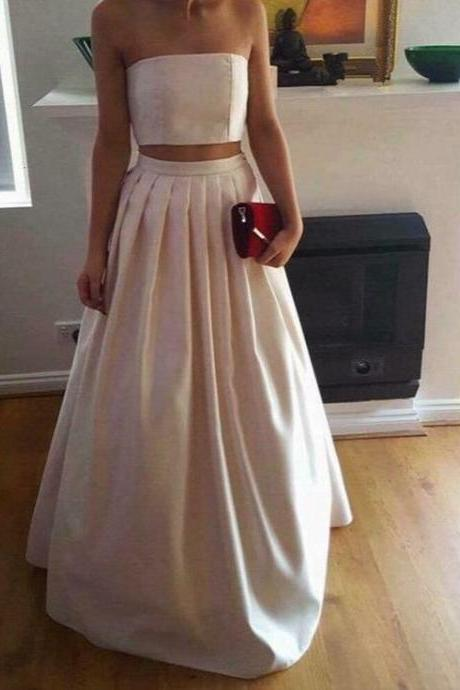 Sexy Two Piece Satin Party Dress,Two Pieces Prom Dresses 2017,Party Dresses WIth Pleat,Satin Long Formal Gowns