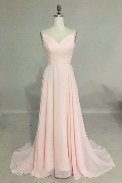 Backless Prom Dress,V-neck Long Evening Party Dress,Straps Sleeveless Prom Gown,Pink Chiffon Prom Dresses,Bridesmaid Dress,Sexy Bridesmaids Dress,P006