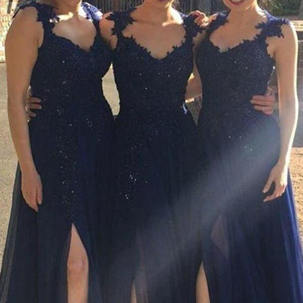 Navy Backless Bridesmaid Dresses,Sleeveless Bridesmaid Dress,Long Cheap Bridesmaid Gown,Bridesmaid Prom Dress,Hot-selling A-line Navy Blue Slit Chiffon Bridesmaid Dress with Appliques,B012