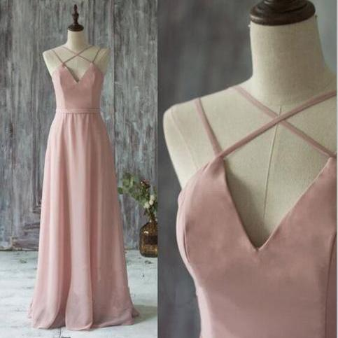 V-neck Bridesmaid Dress,Chiffon Dress with Satin Top,Straps Prom Dress,Bridesmaid Gown,Floor-length Bridesmaid Dress,Long Prom Dress,Prom Gown,B013