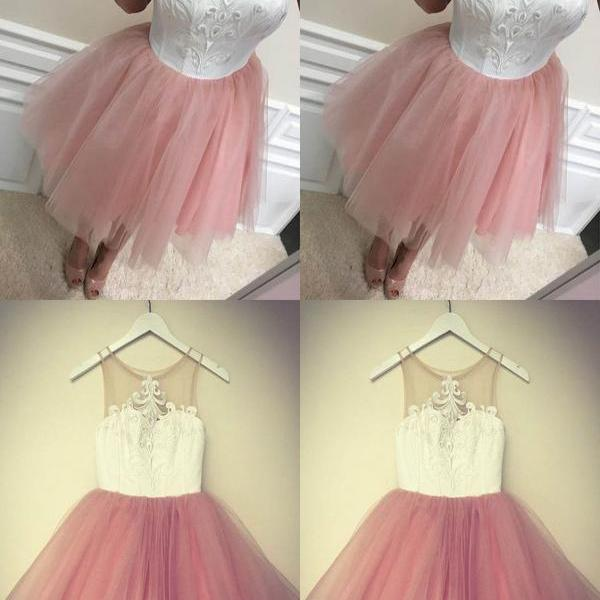 Blush Pink Tulle Homecoming Dresses,Cheap Sleeveless Short Homecoming Dresses,Cute Homecoming Dress for teens,Sweet 16 Dress,Junior Dresses,H058