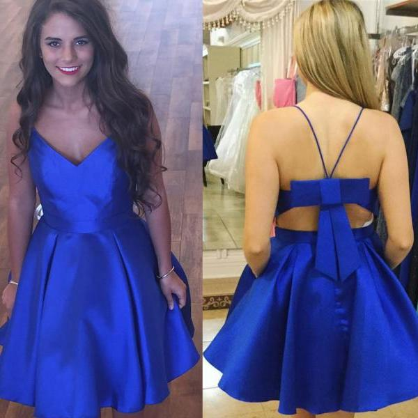 Royal Blue Straps Homecoming Dresses,Simple Hoco Dresses,2017 V-neck Satin Homecoming Dresses,Mini Dress,Short Backless Prom Gown,Sweet 16 Dress,H059