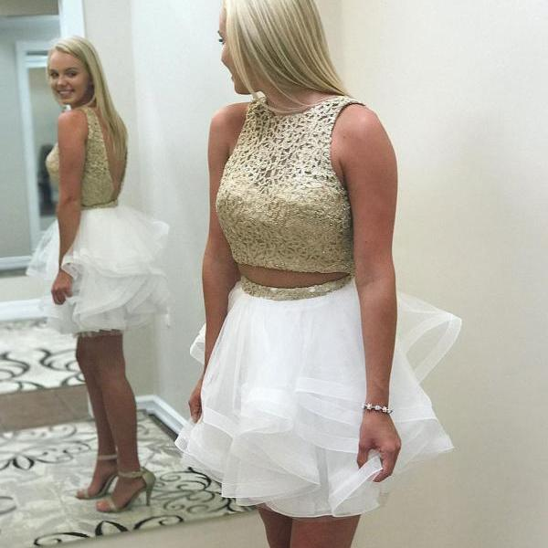 Gold Lace Top Sleeveless Homecoming Dresses,Two Piece Tulle Homecoming Dresses,Mini White Dresses,New Short Prom Gown,Gold Cocktail Dresses,H060