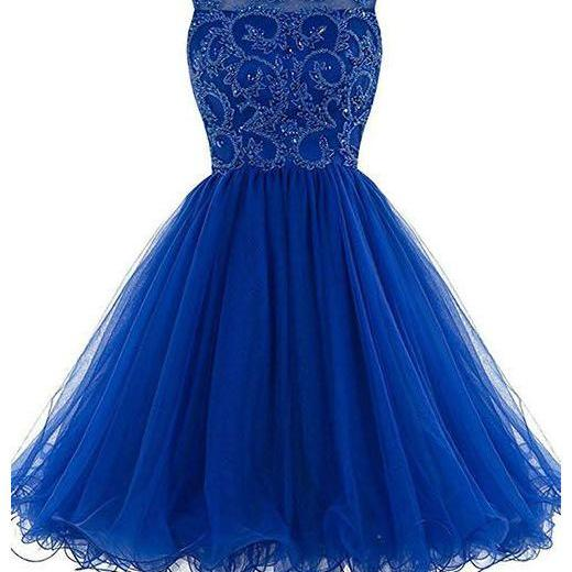 Royal Blue Sleeveless Tulle Homecoming Dresses,A-line Charming Homecoming Gown with V-Back,Royal Blue Party Dress,Graduation Dress,H109