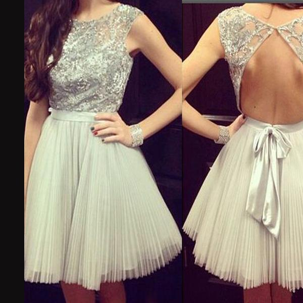 Gorgeous Open Back Casual Charming Homecoming Dress with Band,Ruffle Beaded Party Dress,Cheap Short Prom Dresses,Mini Dress,H110