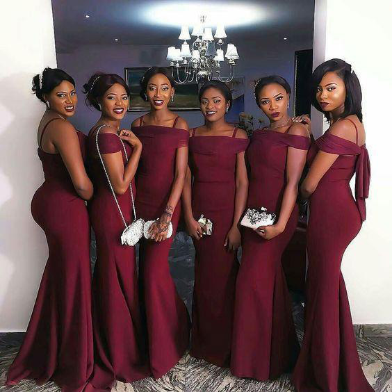 Spaghetti Straps Burgundy Mermaid Prom Dress, Unique Sexy Trumpet Long Bridesmaid Dress B050