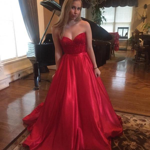 Sweetheart Long Charming Prom Dresses, Floor-Length Evening Dresses,Prom Dresses,SC53