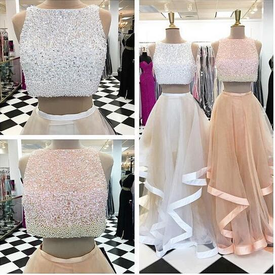 Two Pieces Charming Prom Dresses, Floor-Length Evening Dresses,Prom Dresses,SC54