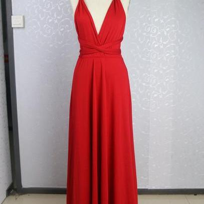 V-Neck Red Charming Prom Dresses, Floor-Length Evening Dresses,Prom Dresses,SC55