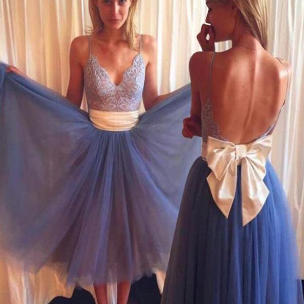 Straps Lace Prom Bowknot Backless Dresses,Cocktail Dress,Graduation Dresses,Homecoming Dresses SE02