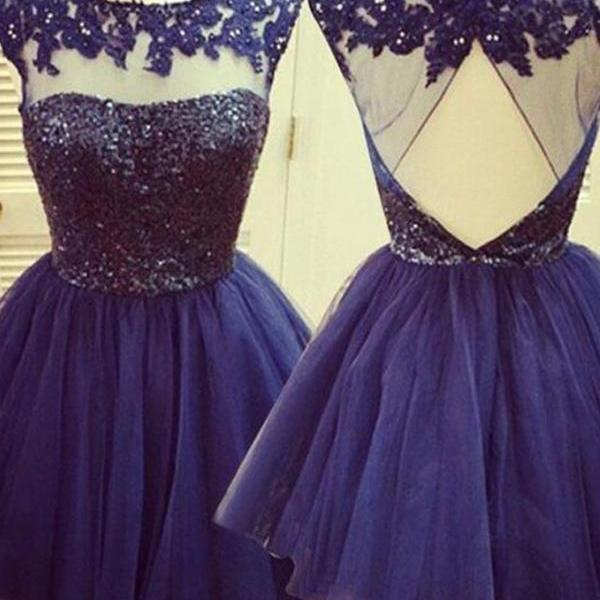 Tulle Open Back Dresses,Cocktail Dress,Graduation Dresses,Homecoming Dresses SE04