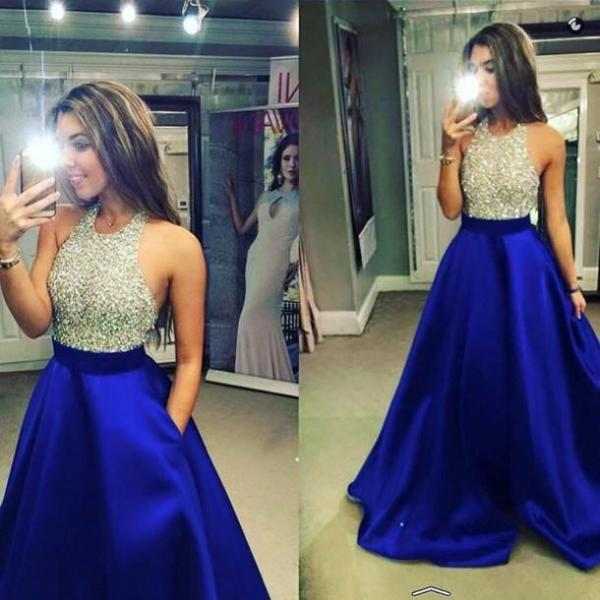New Royal blue Satin Real Made Prom Dresses, Floor-Length Evening Dress,Prom Dresses