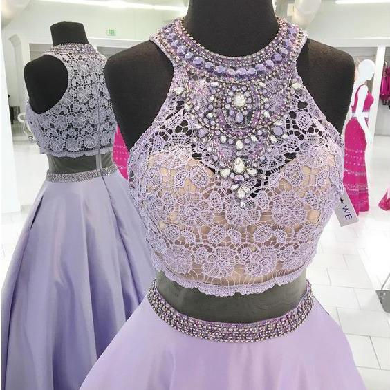 Halter Prom Dresses,Lavender Prom Gowns,Lace Bodice Evening Gown,Two Pieces Prom Dresses,Beaded Long Prom Dresses,Senior Formal Dresses,2017 Sleeveless Prom Dress,P066