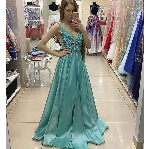 A-line Prom Dress,Sexy V Neck Beaded Long Prom Dresses,Green Sleeveless Evening Dress,Long Prom Gown,Senior Prom Dress,Beading Prom Dress,Evening Dresses,P068
